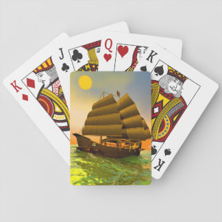 Oriental junk by sunset - 3D render Playing Cards