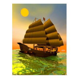 Oriental junk by sunset - 3D render Postcard