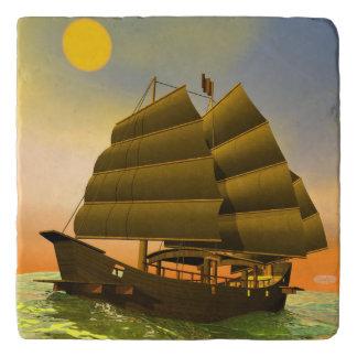 Oriental junk by sunset - 3D render Trivet