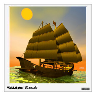 Oriental junk by sunset - 3D render Wall Sticker