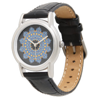 Oriental ornament on Classic Black Leather Watch