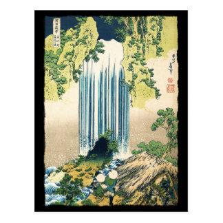 Oriental Painting Waterfall Above Shack Postcard