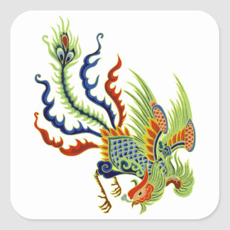 Oriental Peacock Vintage Art Square Sticker