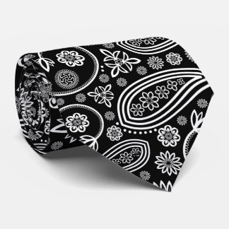 Oriental Persian Paisley, Dots - Black White Tie