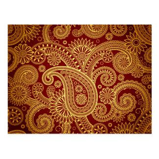 Oriental Persian Paisley, Swirls - Red Yellow Postcard