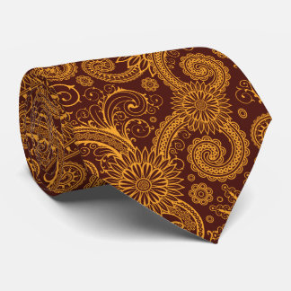 Oriental Persian Paisley, Swirls - Red Yellow Tie