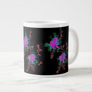 Oriental Pink Aqua Flowers Black Mug