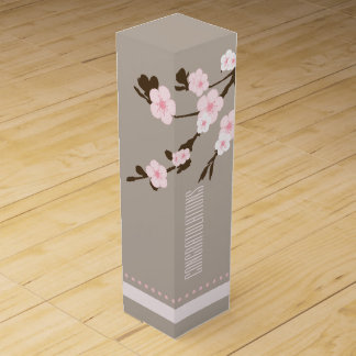 Oriental Pink Flowers on Tree Branch Wine Bottle Boxes
