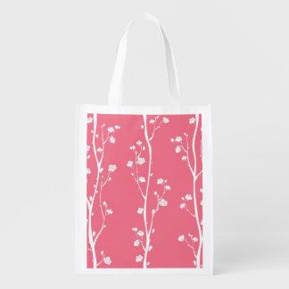Oriental plum blossom pattern reusable grocery bag