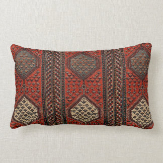 Oriental red runner pattern lumbar pillow