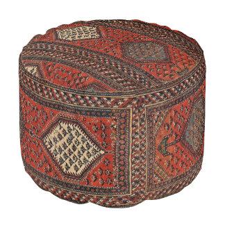 Oriental red runner pattern pouf