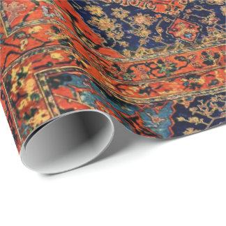 Oriental rug in blue&orange wrapping paper