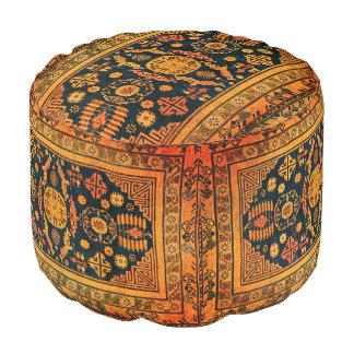 Oriental rug look in  oranges & black pouf