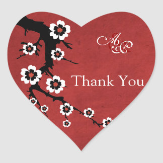 Oriental Sakura Thank You Wedding Sticker