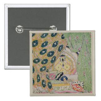 Oriental Scenery Design (colour litho) 2 Inch Square Button