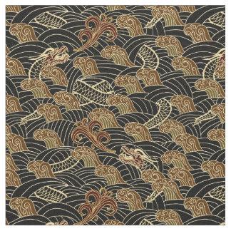 Oriental Sea Dragon Pattern Fabric