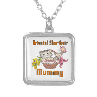 Oriental Shorthair Cat Mom Silver Plated Necklace