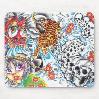 oriental skull women tiger mouse pad