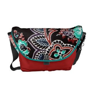 Oriental spice floral pattern - midnight commuter bags