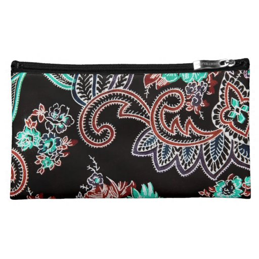 oriental spice pattern - midnight with turquoise makeup bags