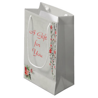 Oriental style floral watercolor bridesmaid small gift bag