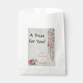 Oriental style floral watercolor favour bag