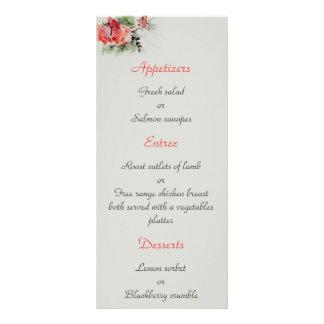 Oriental style floral watercolor wedding menu