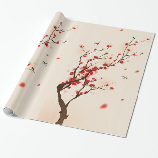 Oriental Style Painting Plum Blossom in Spring