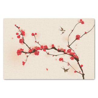 Oriental style painting, plum blossom in spring 3 tissue paper
