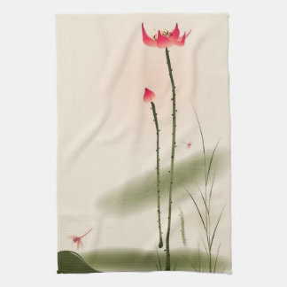 Oriental style painting, tall Lotus Kitchen Towel