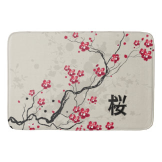 Oriental Style Sakura Cherry Blossom Art Bath Mat