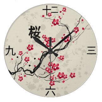 Oriental Style Sakura Cherry Blossom Art Large Clock