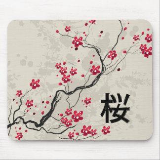 Oriental Style Sakura Cherry Blossom Art Mouse Pad