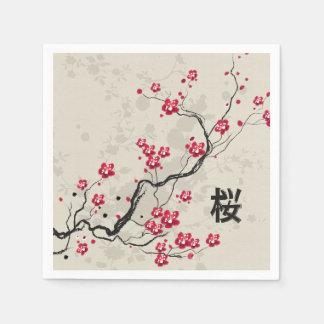Oriental Style Sakura Cherry Blossom Art Paper Napkins