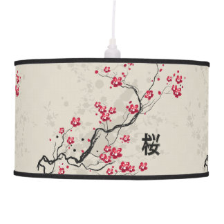 Oriental Style Sakura Cherry Blossom Art Pendant Lamp