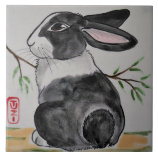 "Oriental Style TUZI Dutch Rabbit 6"" Tile Trivet"