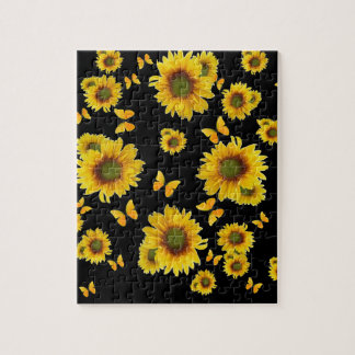Oriental Style Yellow Butterflies Sunflowers Jigsaw Puzzle