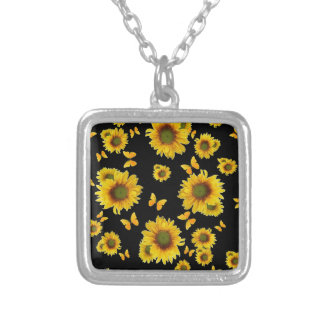 Oriental Style Yellow Butterflies Sunflowers Silver Plated Necklace