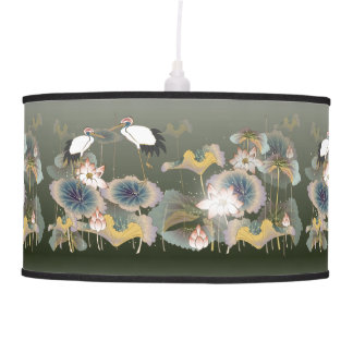 Oriental Watercolor Cranes and Pond Flowers Ceiling Lamp