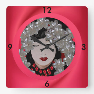 Oriental Woman Wall Clock on Red, Pink, Black