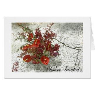 Oriental Zen Red Anthuriums Bouquet All-Occasion Card