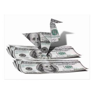 Origami Bird from 100 Dollar Bill Postcard