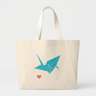 origami bird with heart large tote bag