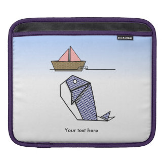 Origami Blue Whale And Paper Boat Sleeve For iPads