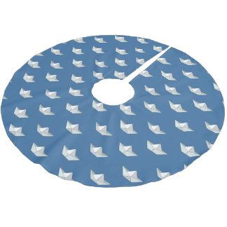 Origami Boats On The Water Pattern Brushed Polyester Tree Skirt