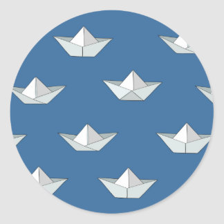Origami Boats On The Water Pattern Round Sticker
