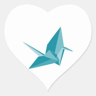 Origami Crane Heart Sticker