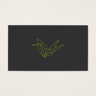Origami Crane in Neon Yellow on Gray Business Card