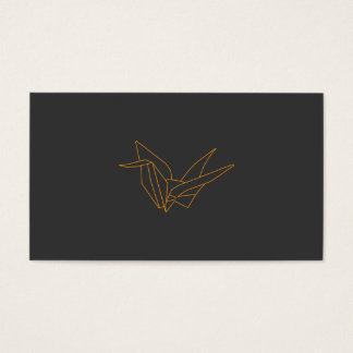 Origami Crane in Orange on Gray Business Card