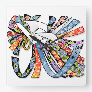 Origami Crane Japanese Paper Good Luck Noshi Square Wall Clock